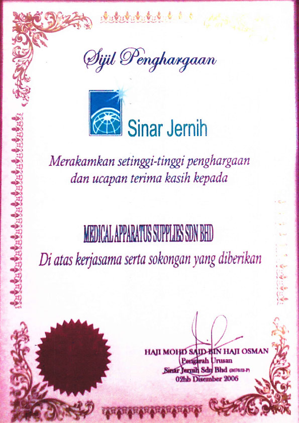 medical-apparatus-supplies-2006-Sinar-Jernih-Appreciation-Certificate