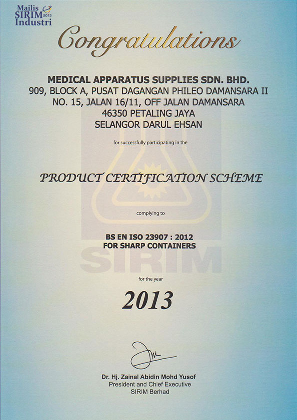 medical-apparatus-supplies-2013-SIRIM-Product-Certification