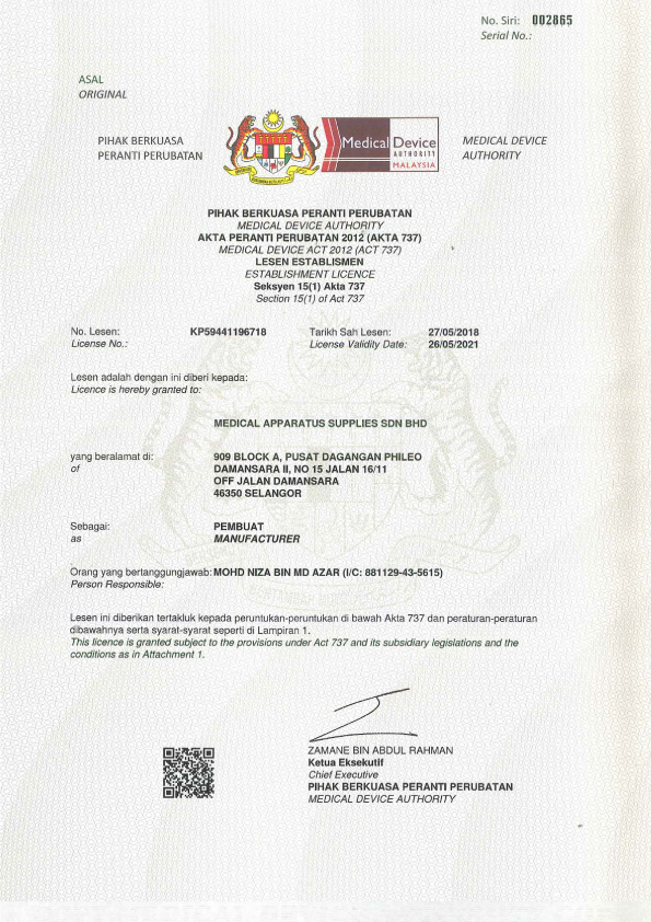 Medical Device Authority Malaysia License